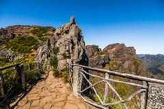 Hiking trail passage from mountain Pico Arieiro to Pico Ruivo, Madeira. Madeira best island destination. royalty free stock image