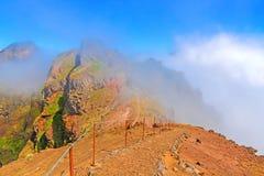 Hiking trail from Pico do Arieiro to Pico Ruivo, Madeira Royalty Free Stock Images