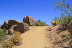Desert Hiking Trail. Mountain hiking trail in the desert royalty free stock photography