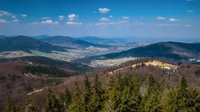 View of the beautiful panorama of the mountains stock photography