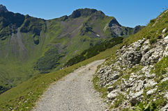 Hiking trail in the Raetikon mountain range Royalty Free Stock Photography