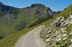 Hiking trail in the Raetikon mountain range. Principality of Liechtenstein royalty free stock photography