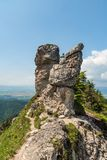 Hiking trail with rocks around near Ostra hill in Velka Fatra mountains in Slovakia royalty free stock photography