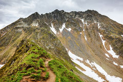 Hiking trail in the Romanian mountains Stock Photos