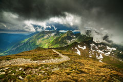 Hiking trail in the Romanian mountains Stock Image