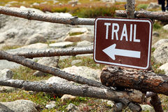 Hiking trail sign. Sign pointing to hiking trail stock image