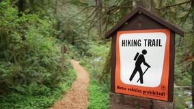 Hiking Trail Sign stock video footage