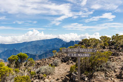 Hiking trail sign between le Maido and le Grand Benare and Cirqu Royalty Free Stock Photo