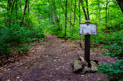 A Hiking Trail Sign Stock Image