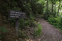 Hiking trail and sign in Smoky Mountains Stock Photography