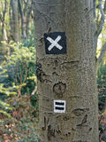 Hiking trail sign on a tree Stock Photos