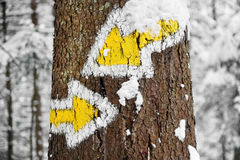 Hiking trail sign in winter Stock Photo