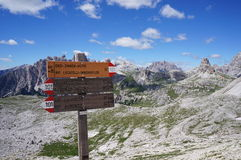 Hiking trail signs, Dolomites, Italy Stock Images