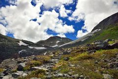 Hiking trail and  spectacular cloudy sky Royalty Free Stock Photo