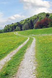 Hiking trail through springlike landscape Royalty Free Stock Images