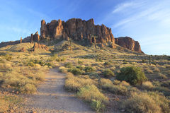 Hiking trail in Superstition Mountains, Arizona. Evening view of a hiking trail in Superstition Mountains near Phoenix, Arizona Stock Image