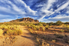 Hiking trail in Superstition Mountains, Arizona Stock Photos