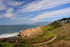 Hiking trail at Sutro Bath. San Francisco royalty free stock photo