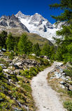 Hiking trail in Switzerland Alps Stock Image