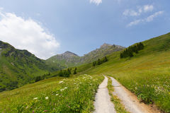 Hiking trail in Switzerland Stock Photos