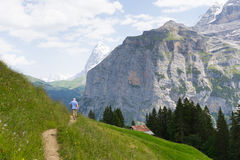 Hiking trail in Switzerland Royalty Free Stock Image