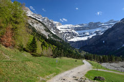 Hiking trail to the cirque of Gavarnie in Pyrenees Royalty Free Stock Image