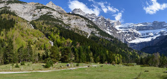 Hiking trail to the cirque of Gavarnie in Pyrenees Stock Images