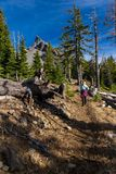 Hiking trail to Mount Thielsen royalty free stock photography