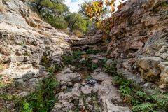 Hiking Trail to the Pedernales River on the Reimers Ranch in Texas. Through the ferns and along the creek past caves and cliffs royalty free stock photography