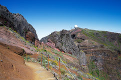 Hiking trail to Pico do Areeiro, Madeira. Hiking trail going back to Pico do Areeiro from Pico Ruivo. Madeira, Portugal Royalty Free Stock Photos