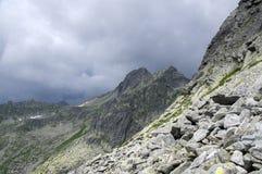 Hiking trail to Rysy mount, aeria view to mountain tarn Big frog. Dark clouds royalty free stock image