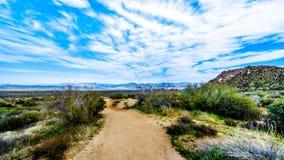 Hiking Trail to Tom`s Thumb in the McDowell Mountain Range near Phoenix. Arizona stock photos