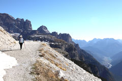 Hiking trail to Tre Cime Royalty Free Stock Image