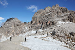 Hiking trail to Tre Cime of Dolomites. Hiking trail to alpine hut Refugio Lavaredo of Dolomites, Italy Royalty Free Stock Photography