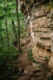 Hiking trail under a craning cliff in the forest stock photo