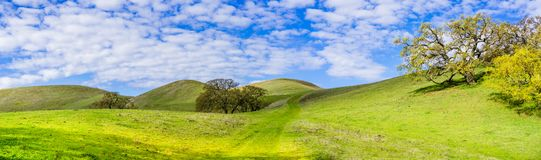 Hiking trail through the verdant hills of south San Francisco bay area, San Jose, California royalty free stock photography