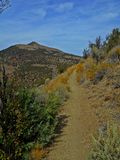 Hot Hike in the High Desert. Hiking trail and view of Gray Butte - north of Smith Rock - Crooked River National Grassland - near Terrebonne, OR Stock Photo