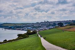 hiking trail and view over Padstow, North Cornwall stock photos