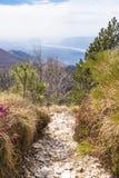 Hiking trail with view to Friuli-Venezia Giulia in Italy Stock Photos