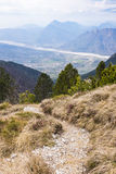 Hiking trail with view to Friuli-Venezia Giulia in Italy Stock Photography