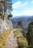 Hiking trail with view to garmisch partenkirchen, germany Stock Photo