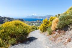 Hiking trail at Vulcano, Aeolian Islands near Sicily, Italy Royalty Free Stock Images
