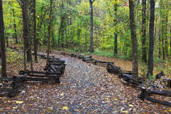 Hiking Trail. In the woods with split rail fence on the sides, Kings Mountain State Park stock photo