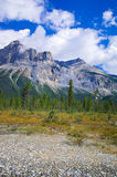 A hiking trail in the Yo-ho National Park, at the canadian Rockies Mountain. Canadian Rockies in Alberta and British Columbia stock images