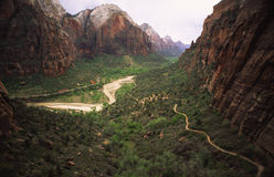 Hiking trail in Zion Canyon, Utah Stock Images