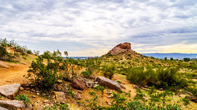 Hiking trails around the red sandstone buttes of Papago Park near Phoenix Arizona Stock Photos