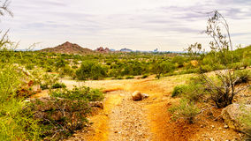 Hiking trails around the red sandstone buttes of Papago Park near Phoenix Arizona. Hiking trails around the red sandstone buttes of Papago Park, with its many Royalty Free Stock Photo