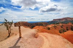 Hiking trails in Bryce Canyon National Park with signpost. Wide angle photography of hiking trails in Bryce Canyon National Park with signpost Stock Images