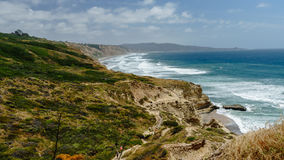 Hiking trails, cliffs and ocean views, Torrey Pines, California. Background photo of the scenic trails at the Torrey Pines Natural Reserve royalty free stock photography