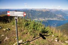 Hiking trails, Lake Como, Italy Stock Image